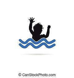 child in water silhouette illustration