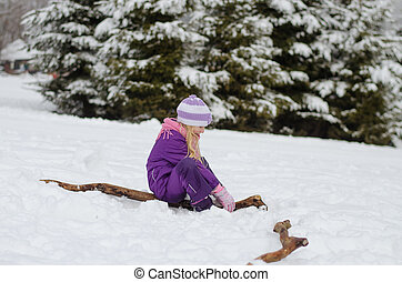 child in winter country