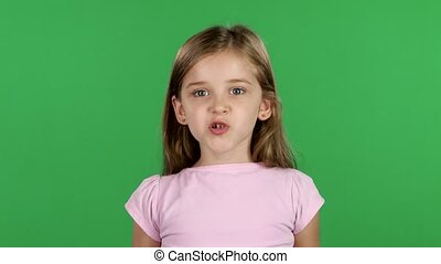 Child is angry, she is very nervous. Green screen - Baby...