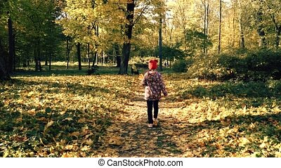 Child is Walking Along the Autumn Path Slowmotion