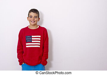 child isolated on white with American flag
