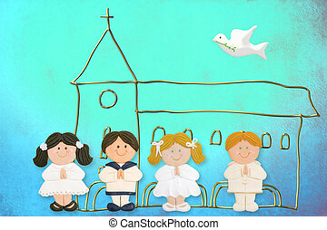 child jolly card first communion, church and group of...