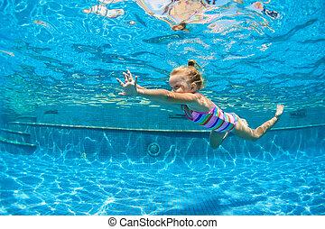Child jump underwater into swimming pool
