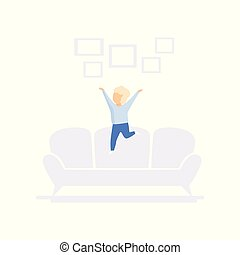 Child jumping on sofa, family lifestyle concept vector Illustration on a white background