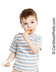 Child kid brushing teeth