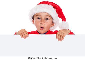 Child kid Christmas Santa Claus empty banner copyspace ...