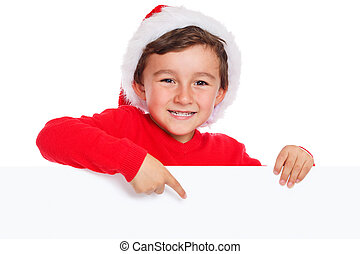 Child kid Christmas Santa Claus pointing happy empty banner ...