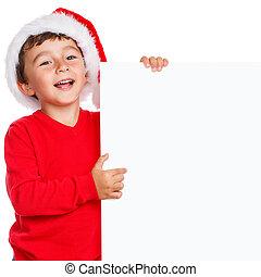 Child kid Christmas Santa Claus smiling happy empty banner ...