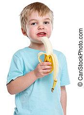 Child kid eating banana fruit healthy blond hair portrait format isolated on white