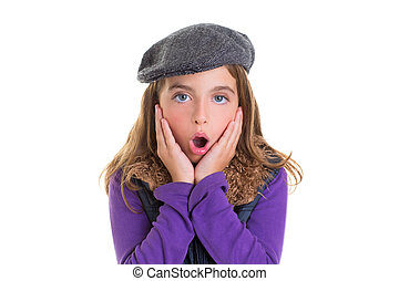 Child kid girl face expression of surprise hands in face