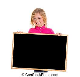 child kid happy girl holding blank blackboard copyspace