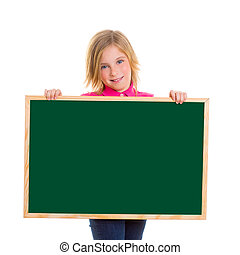 child kid happy girl holding blank blackboard copyspace