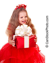 Child l in red dress with gift box.