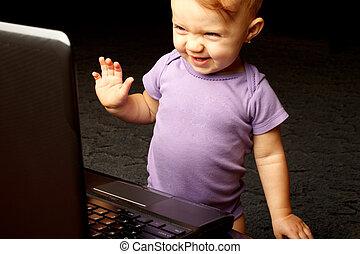 Child Laptop Thrilled