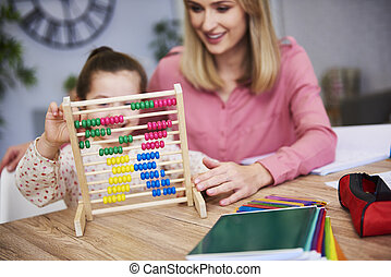 Child learning to count at home