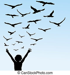 Child learning to fly, illustration with child and birds