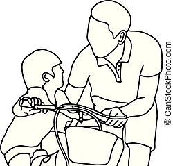 child learning to ride a bike with his father vector illustration outline sketch hand drawn with black lines isolated on white background