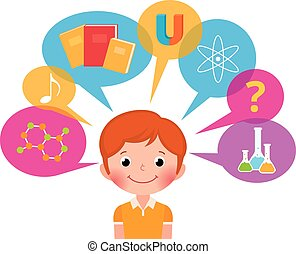 Child learns - Cartoon boy student different sciences