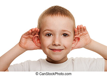 Child listening - Smiling human child hand listening deaf...