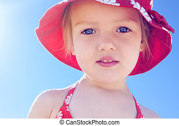 child little girl beautiful sun beach vacation backlight close u