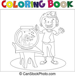 Child looking at an aquarium. Coloring book