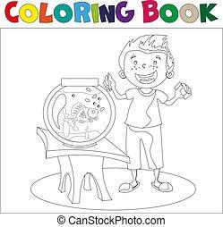 Child looking at an aquarium. Coloring book