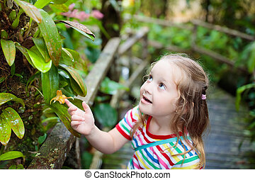 Child looking at flower in jungle. - Little girl hiking in...