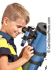 Child Looking Into Telescope on white - Child Looking Into...