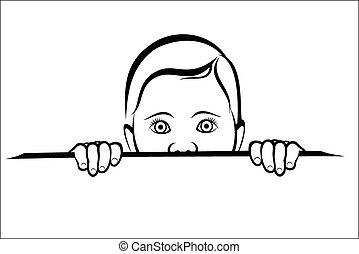 Child looking surprised - Vector illustration : Child...