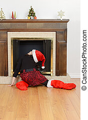 child looking up fireplace santa