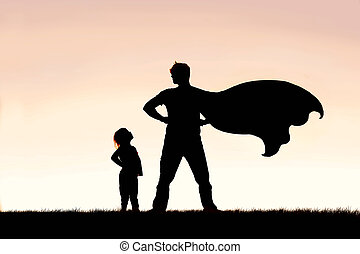 Child Looking up in Admiration to Cape Wearing Superhero Father