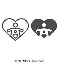 Child love line and solid icon. Mother and baby inside heart shape, woman care symbol, outline style pictogram on white background. Relationship sign for mobile concept or web design. Vector graphics.