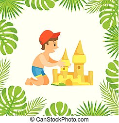 Child Making by Hands Sand Castle, Summer Vector - Boy...