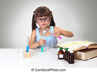 child making chemical test