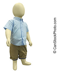 Child mannequin dressed in casual clothes