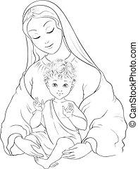 child., marie, bébé, vecteur, dessin animé, béni, page, madone, vierge, jésus, coloration