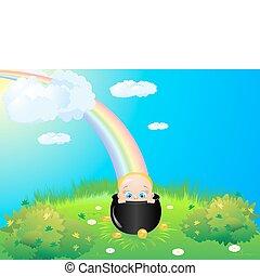 Child meadow rainbow