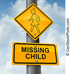 Child Missing - Child missing concept with a yellow school...