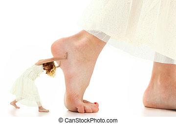 Child Motivation Push - Concept image of young girl pushing ...