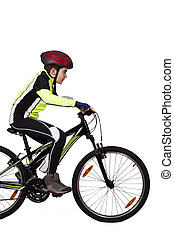 child on a bicycle isolated
