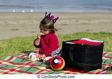 Child on a picnic