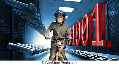 Child on bike in data center with b