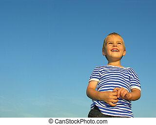 child on blue sky