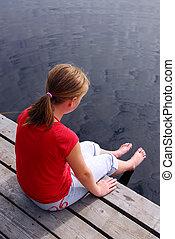 Child on dock
