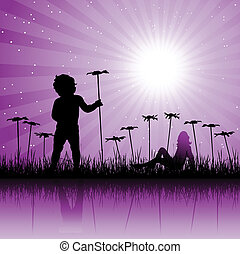 Child on floral field