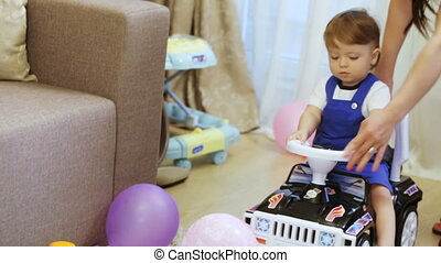 Child on machine at home
