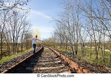 child on railway