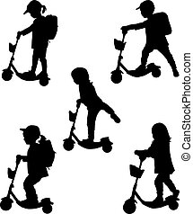 Child on scooter - conceptual silhouettes.