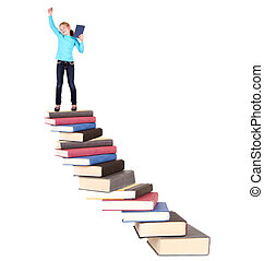 child on staircase of books
