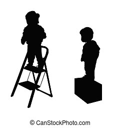 child on stairs illustration silhouette